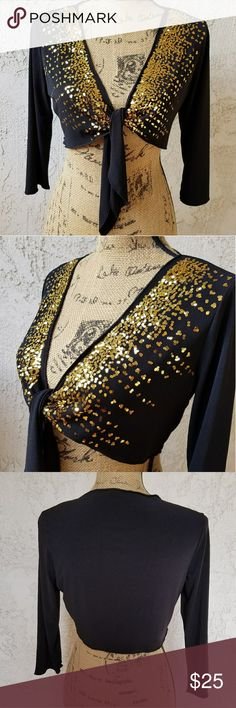 """🆕314) Black w/gold sequins little bolero So cute, perfect over a little black dress or dress up your jeans... when laid flat and untied measures approximately 19"""" from armpit to armpit and approx. 13.5"""" from the shoulder seam to the hem...polyester/ spandex mix....tu13.... Brittany Black Accessories Scarves & Wraps"""
