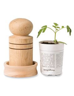 Our Paper Pot Maker turns newspaper into useful, biodegradable plant pots. Make them in seconds -- transplant them right into the ground. It's low-tech splendor!