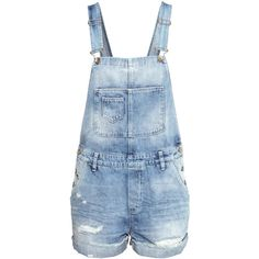 H&M Bib shorts ($10) ❤ liked on Polyvore featuring shorts, overalls, bottoms, jumpsuits and light denim blue