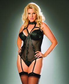 Leather and fishnet underwire teddy with thong back. Adjustable and detachable garters.