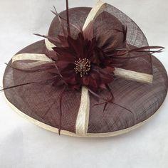 Kentucky Church Derby Wedding Dress Mediumn Brim Sinamay Brown with Beige Hat   eBay