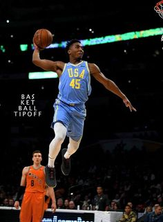 Donovan throws one down during the NBA All Star Weekend for Team USA in the USA vs World game! Team Usa Basketball, Basketball Schedule, Basketball Quotes, Basketball Pictures, Basketball Legends, College Basketball, Jazz Players, Nba Players, Donovan Mitchell Dunk