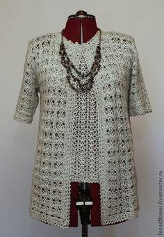 "Кардиган и топ ""Праздничный"".. Обсуждение на LiveInternet - Российский Сервис Онлайн-Дневников Crochet Tunic Pattern, Crochet Jumper, Crochet Coat, Crochet Stitches Patterns, Crochet Blouse, Lace Patterns, Crochet Clothes, Freeform Crochet, Lace Knitting"