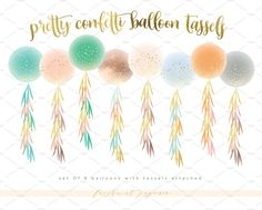 confetti balloon tassels clipart set by freshmint paperie on @creativemarket