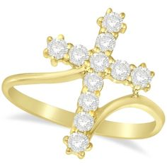 Diamond Religious Cross Twisted Ring 14k Yellow Gold (0.51ct), Women's, Size: 10.25