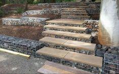 49 fabulous gabion ideas for your outdoor area - HomeSpecially Small Retaining Wall, Gabion Retaining Wall, Landscaping Retaining Walls, Backyard Landscaping, Landscaping Ideas, Landscape Stairs, Garden Stairs, Mountain Modern, Enjoy The Sunshine