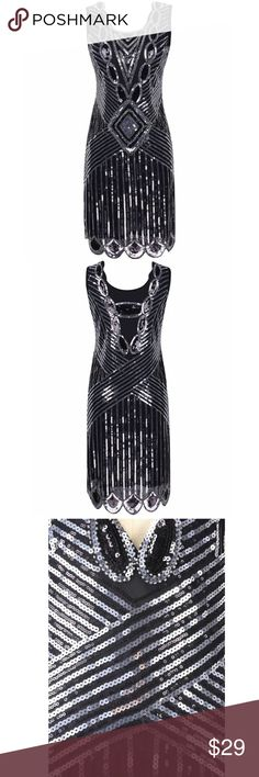 Sequin Flapper Dress 1920s Sequined Beaded Back Deep V Gatsby Flapper Evening Dress. Both front and back are embellished with sequins and beads. Deep V back design, glam beaded and sequined hem. Knee length dress. Evening, party, wedding cocktail dress. Vintage 1920s style gatsby costume dress. Worn one time. No trades! kayamiya Dresses Backless