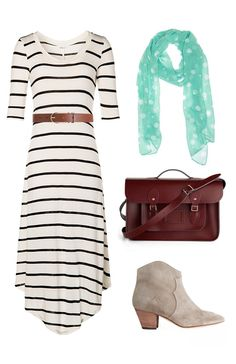 Take striped tank maxi and put a long sleeve top or sweater over and pair with booties and scarf. Instant fall outfit