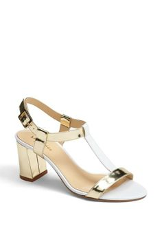 kate spade new york gold & white sandal