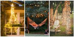 Source: Country Living Light up your backyard with these outdoor fairy lights. Backyard String Lights, Backyard Lighting, Outdoor Lighting, Outdoor Decor, Lighting Ideas, Rustic Outdoor, String Lighting, Candle Lighting, Wedding Lighting