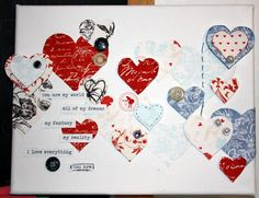 This is really awesome hybrid take on February #24! I am lovin all of these beautiful hearts, the tiny word strips and the canvas presentation too - just lovely!