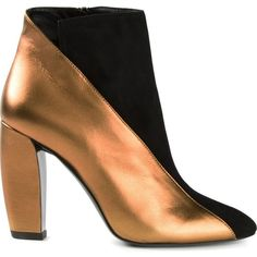 Pierre Hardy metallic panel ankle boots featuring polyvore, fashion, shoes, boots, ankle booties, black, leather ankle boots, short leather boots, short black boots, black leather ankle booties and black leather booties