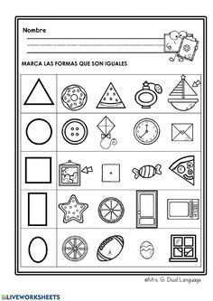 Shapes Worksheet Kindergarten, Shapes Worksheets, Free Kindergarten Worksheets, Preschool Learning Activities, Free Preschool, Math For Kids, Toddler Activity Board, Emotions Activities, Abc Centers