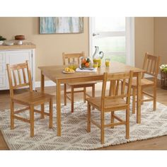 Simple-Living-Eco-Friendly-Bamboo-5-Pc-Dining-Wood-Kitchen-Table-Chair-Set-NEW