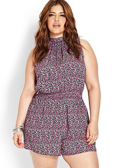 Ok, I usually hate rompers, but this is cute - Floral Open-Back Romper | FOREVER21 PLUS - 2000088126