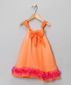 Pink & Orange Ombré Babydoll Dress - Toddler & Girls