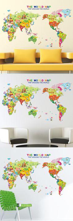 Cartoon Animal World Map Kindergarten Children adornment XL7123 Kids Bedroom Decor PVC Decal Mural Art Office Wall Art