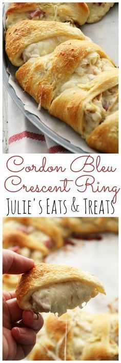 Cordon Bleu Crescent Ring ~ Flaky Crescent Rolls Stuffed with Swiss Cheese, Ham, Chicken and Topped with Garlic Butter! Quick & Easy Dinner! via @julieseats