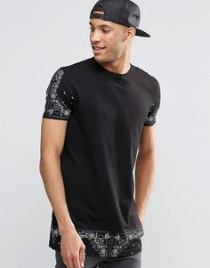 Image 1 of ASOS Super Longline T-Shirt With Bandana Print Sleeves And Hem