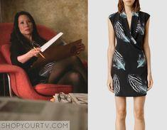 Elementary: Season 3 Episode 21 Joan's Feather Print Dress