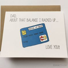 Bank of Dad card   #dad #fathersday #thanksdad #BEpaperie
