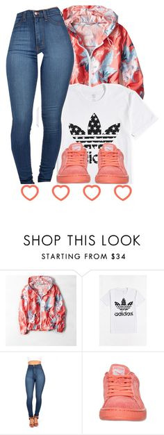 """""""wind breaker """" by moenasha ❤ liked on Polyvore featuring American Eagle Outfitters and adidas"""
