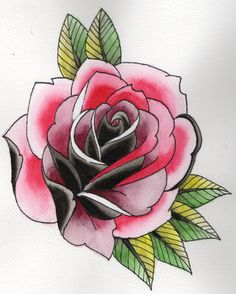 Neo-Traditional rose, spit shadding with INKs
