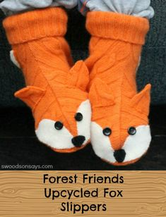 A sewing project to make upcycled fox slippers out of an old wool sweater - perfect gift and the pattern by Betz White covers from kids - adult women's sizes!