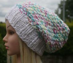 Hand Knit Hat Women's hat Teen slouchy beanie winter by OceanShell