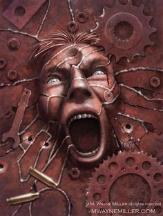 Rusting Chickens by Wayne Miller Dark Fantasy, Fantasy Art, Wayne Miller, Visionary Art, Naive, Sci Fi, Horror, Lion Sculpture, Statue