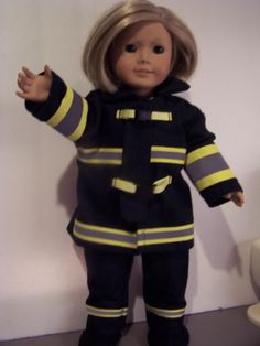 A fire fighter uniform for your doll. Comes with fire coat fire pants helmet and fire boots. Please leave a note about the number for the hat. If no note you will get the number 9 Name can be added to back. No extra charge. Leave spelling in notes Firefighter Family, Firefighter Paramedic, Female Firefighter, Volunteer Firefighter, Firefighter Decor, Boy Doll, Girl Doll Clothes, Girl Dolls, Fire Kids