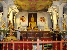 The Temple of Tooth in Kandy, Sri Lanka is beautifully adorned with elephant tusks.