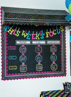 The Chalkboard Brights classroom collection combines the classic chalk look with vibrant colors, patterns and tons of fun.  Your students will love the look, and you will enjoy spending time in your class.  Colors include green, blue, pink, yellow, and white in patterns like polka dots, stripes, and swirls.
