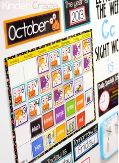 adorable classroom calendar with FREE color word cards