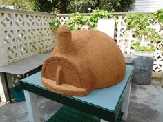 Pizza oven cast on gym-ball using pumice concrete or refractory concrete !