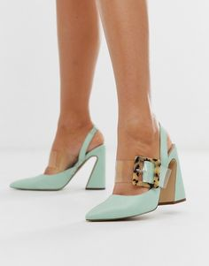 Shop ASOS DESIGN Program block heeled high shoes in mint. With a variety of delivery, payment and return options available, shopping with ASOS is easy and secure. Shop with ASOS today. High Shoes, Pump Shoes, Shoe Boots, Shoes Heels, Asos Shoes, Shoes Sneakers, Gucci Sneakers, Pointed Toe Block Heel, Fashion Shoes