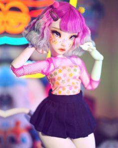 Anime Dolls, Ooak Dolls, Blythe Dolls, Kawaii Doll, Kawaii Anime Girl, Barbie Fashionista Dolls, Arte Sketchbook, Chibi, Black Girl Art