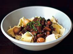 Mushroom Bourguignon by smittenkitchen via seriouseats: This is a truly awesome recipe. Not only is it a fast (and vegetarian) alternative to beef stew, but it is also a wonderful mushroom dish in its own right. Photo by Deb Perelman #Mushroom_Bourguignon