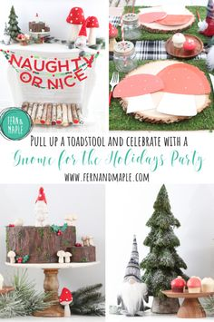 "Make ""gnome"" mistake – this holiday party is sure to feel magical. After all, there's no place like ""gnome"" when it comes to celebrating the holidays, right! #christmasparty #holidayparty #themedparty #parties #fernandmapleparties #partyideas #gnomeparty #holidayparty"