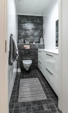 long and narrow - like mine Modern Industrial Decor, Laundry In Bathroom, Bathroom Inspo, Small Bathroom, Bathroom Ideas, Small Toilet, Home Spa, Scandinavian Home, Beautiful Bathrooms