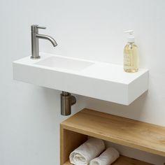 Baths by Clay - Basic handrinse made to measure solid surface (HI-MACS) wash-hand basin Small Downstairs Toilet, Wash Hand Basin, Solid Surface, Bathroom Interior Design, Macs, Sink, Shower, Clay, Bathroom Ideas