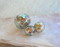 Lampwork Beads Iridescent Faceted Artisan Beads by CandanImrak, $21.00