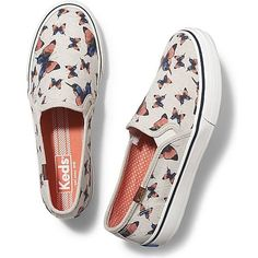 Keds Double Decker Butterfly (76 CAD) ❤ liked on Polyvore featuring shoes, sneakers, natural, linen shoes, butterfly shoes, butterfly trainer, keds footwear and pull-on sneakers