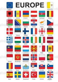 Flags of Europe Flags Of European Countries, World Map With Countries, European Flags, Countries And Flags, All World Flags, World Country Flags, Pays Europe, Flag Of Europe, International Flags