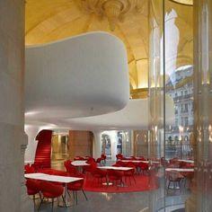 Restaurante L'Opera, em Paris. Projeto de Odile Decq. #restaurant #restaurante #sentidos #sense #artes #arts #art #arte #decor #decoração #architecturelover #architecture #arquitetura #design #interior #interiores #projetocompartilhar #davidguerra #shareproject #opera  #lopera #garnier #phantom #operarestaurant #paris #france #franca #odiledecq