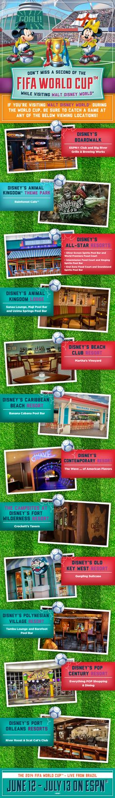 Check out where you can watch the 2014 FIFA World Cup on ESPN during your Walt Disney World vacation! Find more places to watch the World Cup in the USA: http://pin.it/AeGWA1a