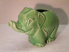 Vintage McCoy Elephant Planter unmarked Jadeite green by ozarksfinds https://www.etsy.com/listing/108770633/vintage-mccoy-elephant-planter-unmarked