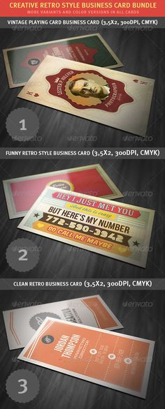 Creative Retro Business Card Bundle - http://graphicriver.net/item/creative-retro-business-card-bundle/3159624?ref=cruzine