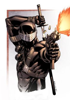 Snake Eyes bust. Drawn by Robert Atkins, colours by Simon Gough.