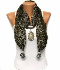 leopard print jewelry scarf with big pendant gift or for you